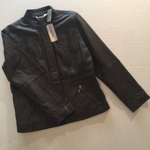 Chico's Size 1 Dark Brown Leather Jacket